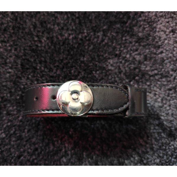 Louis Vuitton Lederarmband, schwarz, Monogramm, L:21cm