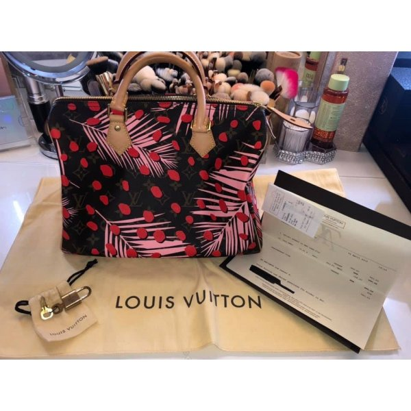 Louis vuitton poppy pink sugar palm Springs Speedy jungle 30