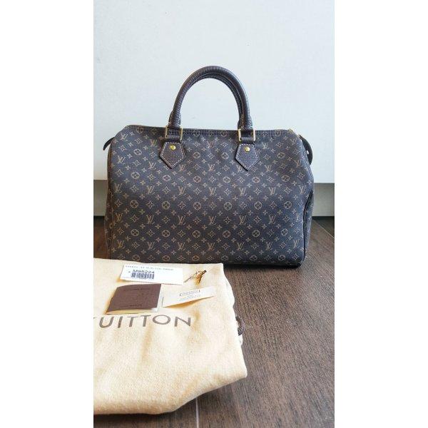 Louis Vuitton Speedy 30 Mini Lin Rarität Monogram Handtasche Luxus dunkelbraun