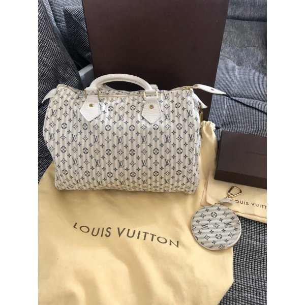 Louis Vuitton Speedy 30 Monogram Mini Lin Croisette bleu mit Anhänger