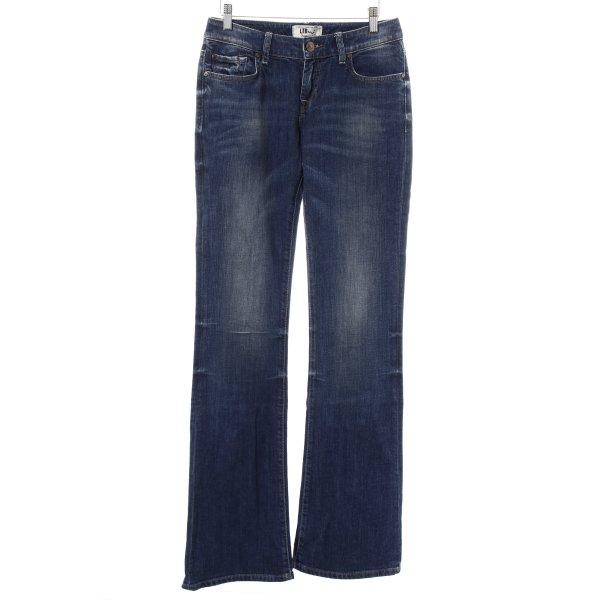 LTB Boot Cut Jeans dunkelblau-wollweiß Washed-Optik