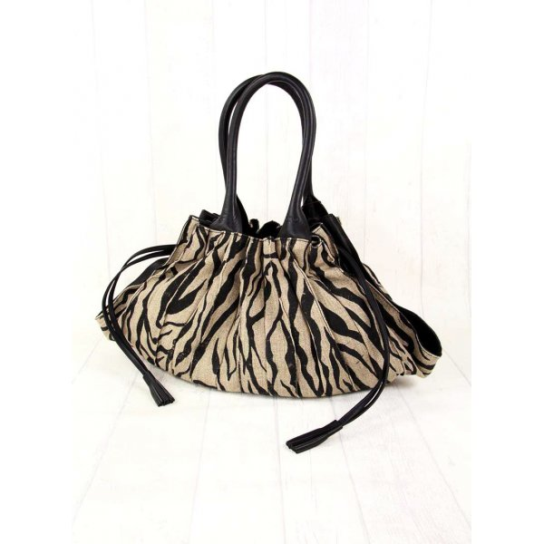 Carry Bag black-gold-colored leather