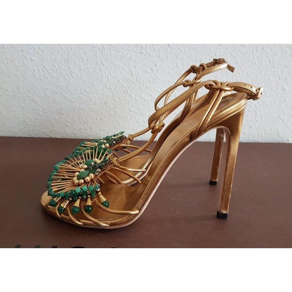 Luxus Designer Gucci High Heel Sandalette mit perlen boho artdeco ibiza