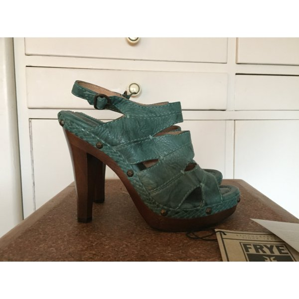 Frye High Heel Sandal turquoise-dark brown leather