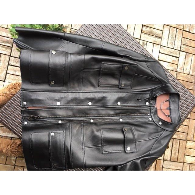 Belstaff Veste en cuir noir-brun cuir
