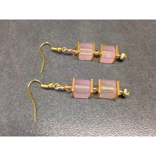 Luxus Würfel Ohrringe mit rosafarbenen Polar und Crash Crackle Würfeln