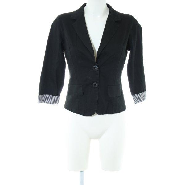 Made in Italy Kurz-Blazer schwarz-weiß Streifenmuster Casual-Look