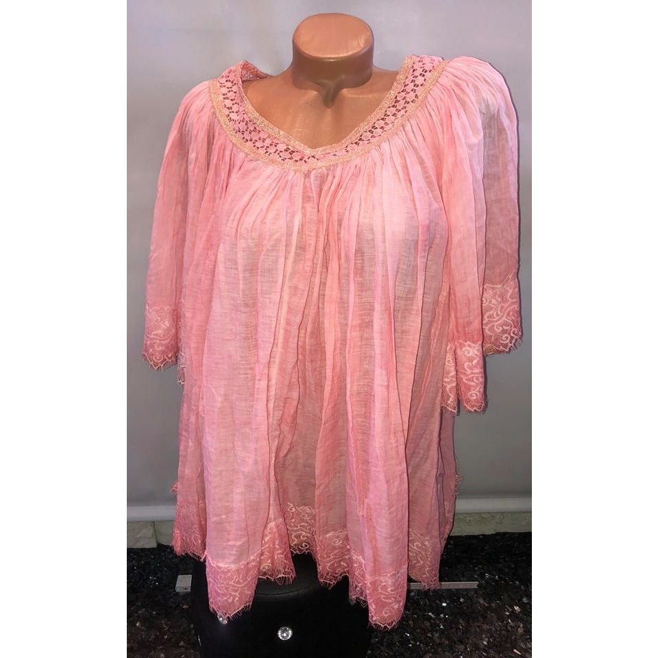 Made in Italy Blouse en lin rose fluo-rose clair coton