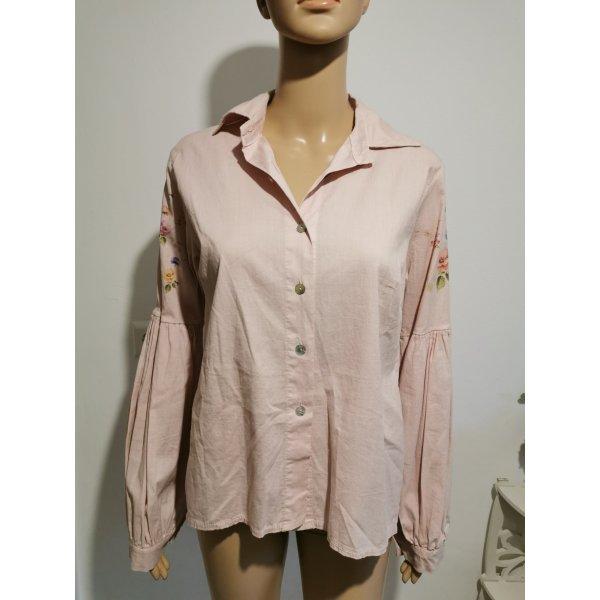 Made with Love Damen Bluse langarm Vintage Look Boho rose Größe 40 NEU