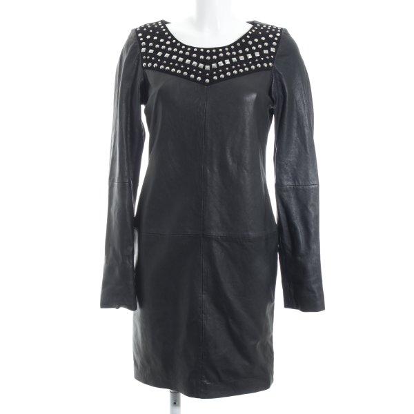 Maison Scotch Lederkleid schwarz-silberfarben Party-Look