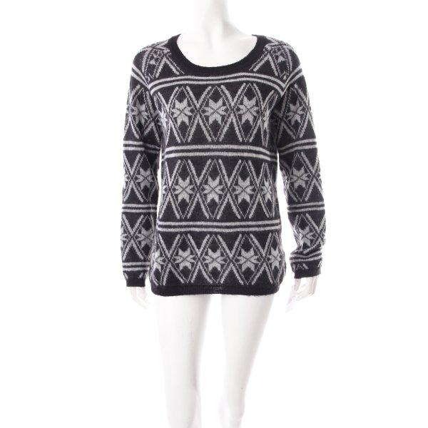 Maison Scotch Norwegerpullover grau-schwarz abstraktes Muster schlichter Stil
