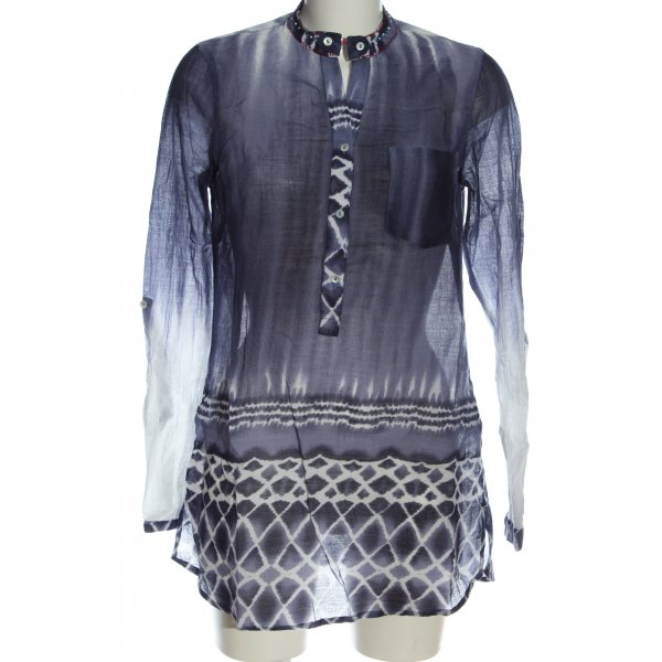 Malvin Long-Bluse blau-weiß Allover-Druck Casual-Look