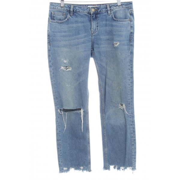 Mango Denim & Tees Boyfriendjeans stahlblau Destroy-Optik
