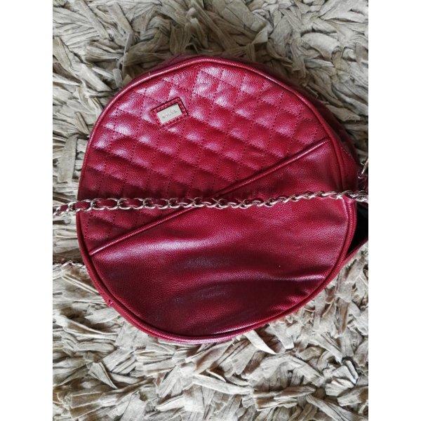mango Handtasche rot und rund, Kunstleder