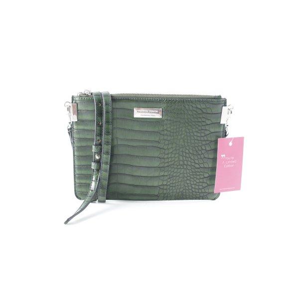 Mango Handtasche waldgrün-schwarz Animal-Look