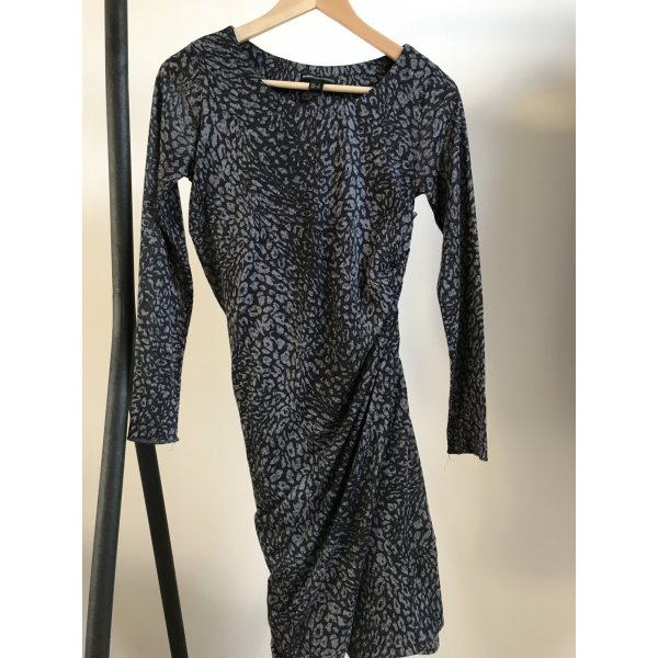 Mango Longsleeve Jersey dress Mit Raffung und Leo-Print
