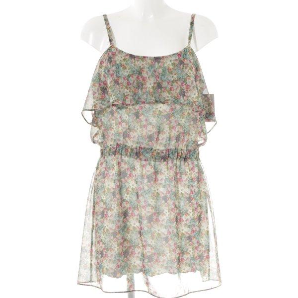 Mango Minikleid grün-pink Blumenmuster Boho-Look