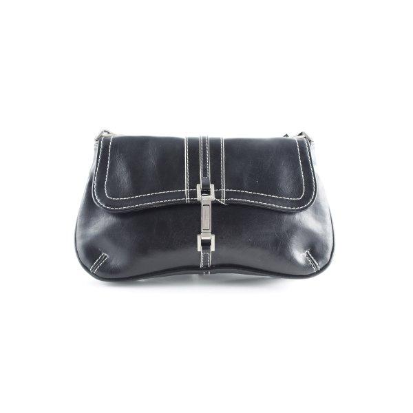 Mango Minitasche schwarz-weiß Vintage-Look