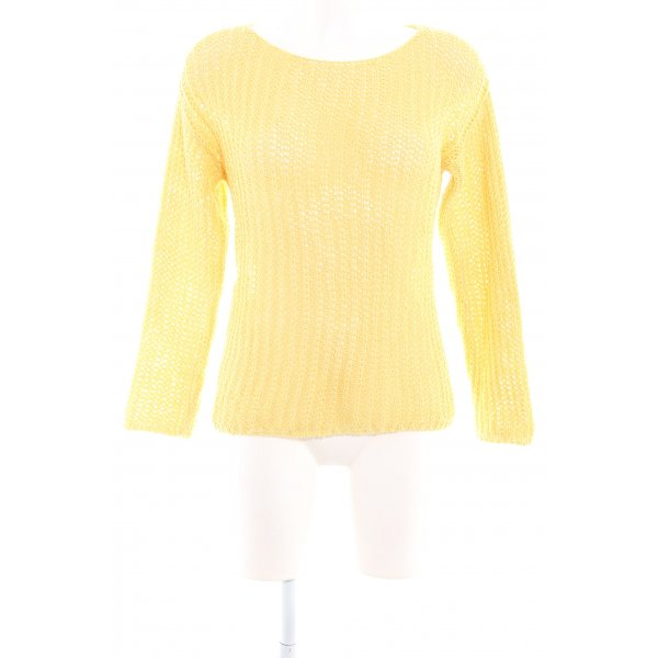 Mango Suit Häkelpullover gelb Lochstrickmuster Casual-Look