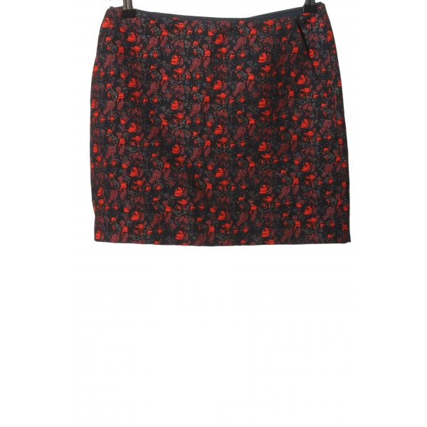 Mango Suit Minirock schwarz-rot abstraktes Muster Casual-Look
