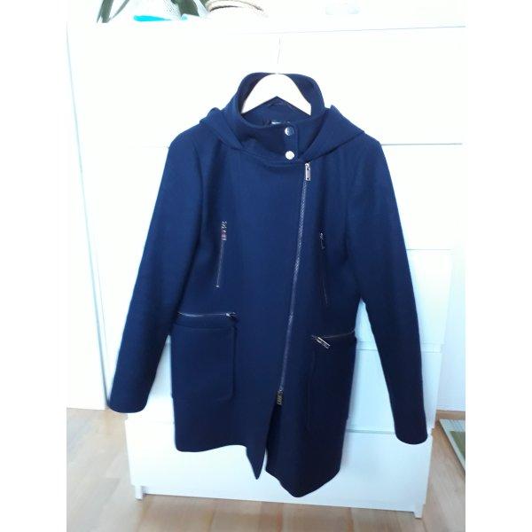 Hallhuber Manteau à capuche bleu foncé laine