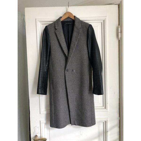 Mantel gehrock Übergang Zara schwarz grau Leder Look Hahnentritt Muster böazer schick business