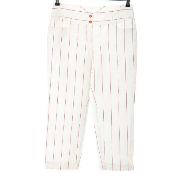 Marc Aurel Stoffhose weiß-rot Streifenmuster Casual-Look