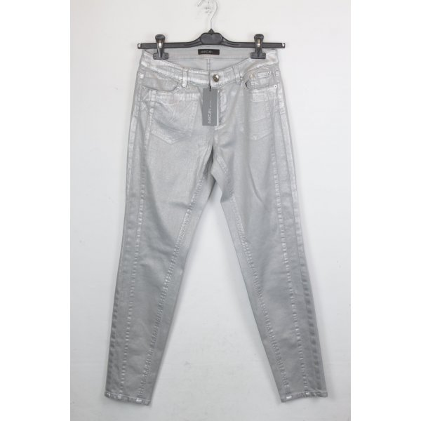 Marc Cain Jeans Skinny Mid Rise Gr. 38 silber NEU (18/5/206/R)