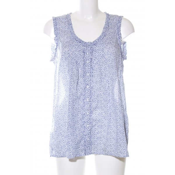 Marc O'Polo Blusentop blau-weiß Allover-Druck Casual-Look