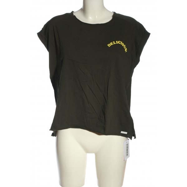 Marc O'Polo T-Shirt khaki-blassgelb Motivdruck Casual-Look
