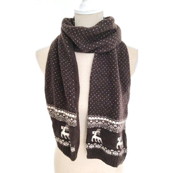Marie Lund Winterschal Schal Tuch Winter Wolle Norweger Stil braun weiß