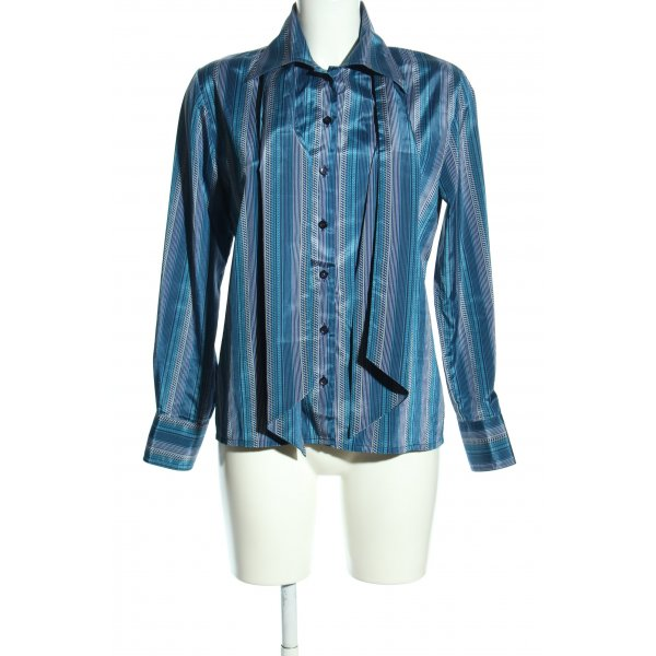 Mario Rosella Hemd-Bluse blau-wollweiß Allover-Druck Business-Look