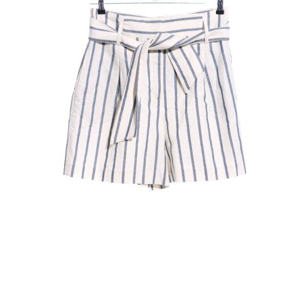 Massimo Dutti High-Waist-Shorts wollweiß-blau Streifenmuster Casual-Look