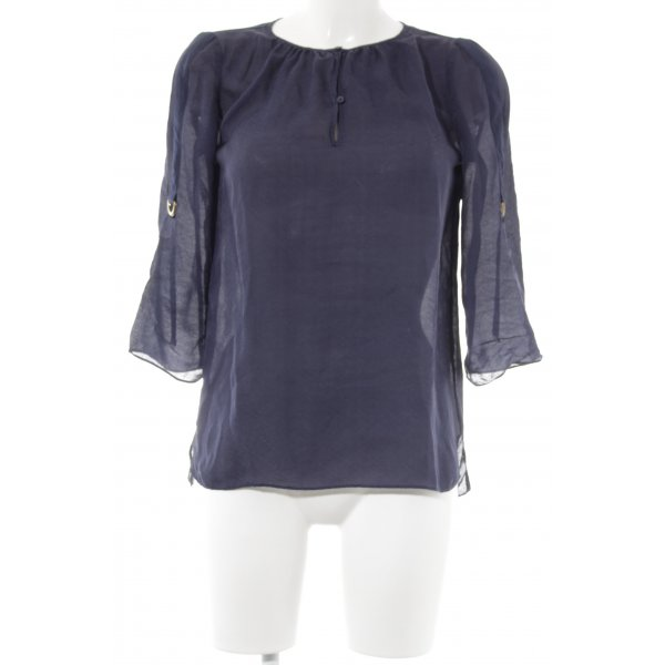 Massimo Dutti Schlupf-Bluse dunkelblau florales Muster schlichter Stil