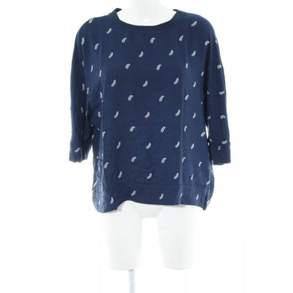 Mavi Kurzarm-Bluse dunkelblau-weiß abstraktes Muster Casual-Look
