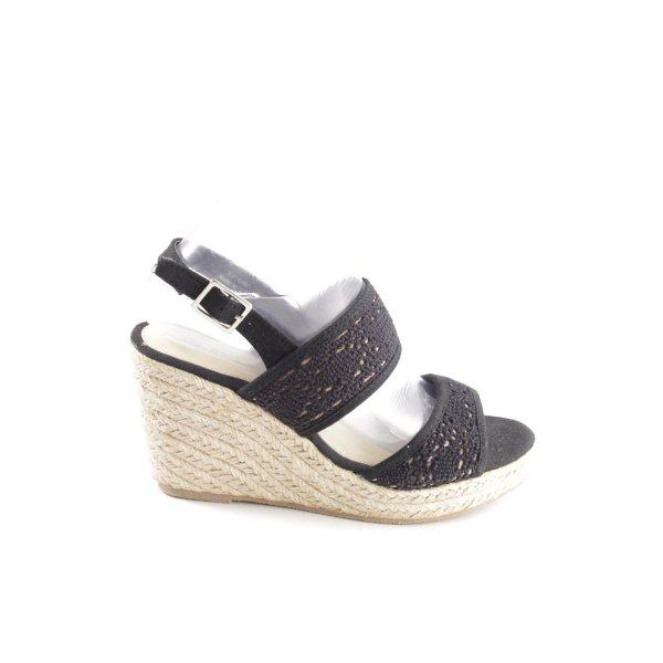 MAX Wedges Sandaletten schwarz-creme Casual-Look