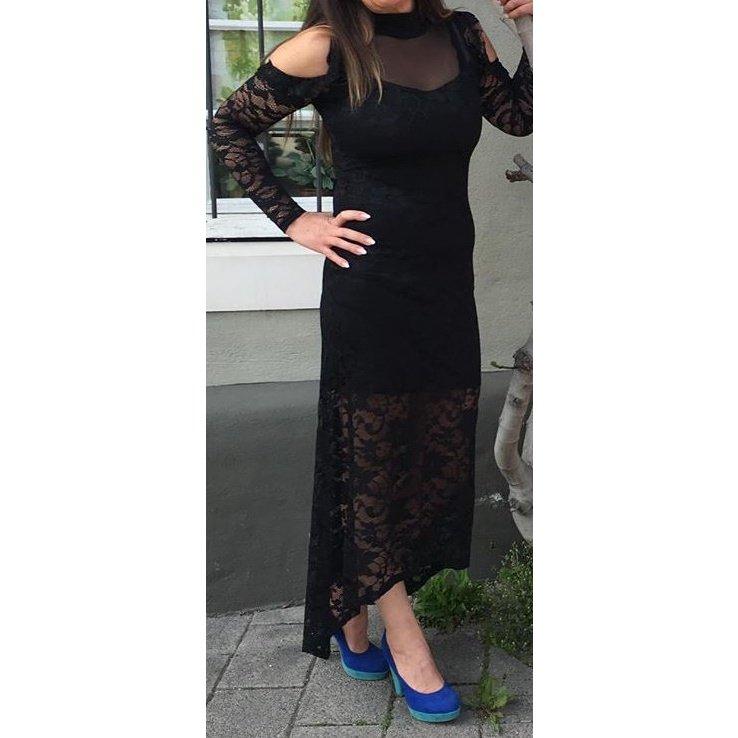 Maxi Kleid schwarz Langarm Spitze Gr XS/S Neu Cocktail Abend Ball Hochzeit