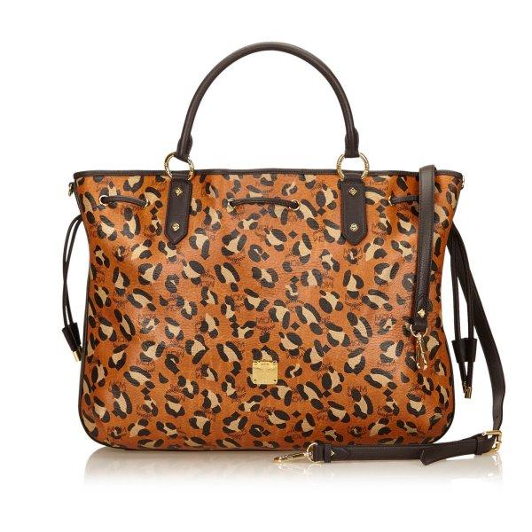 MCM Animal Print Leather Tote Bag