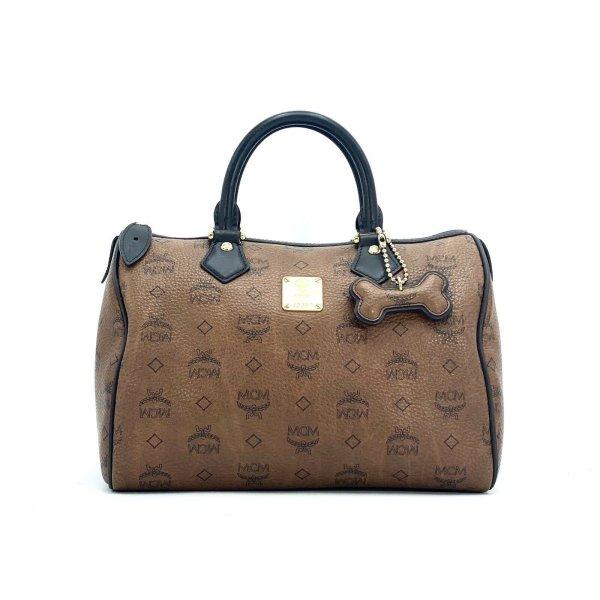 MCM Handtasche Boston Bag Visetos Tasche Henkeltasche Braun Medium Size + Bone