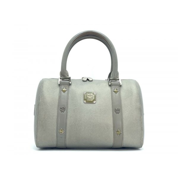 MCM Leder Henkeltasche Leather Tasche Medium Grau Silber Boston Bag