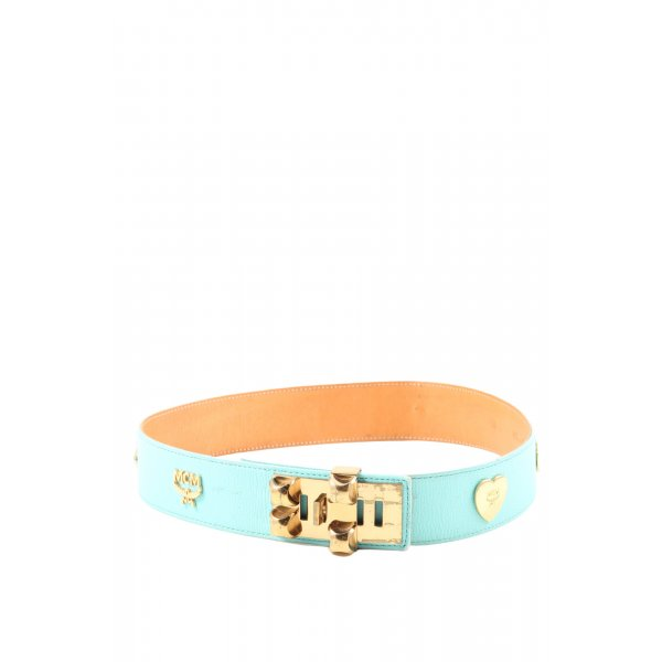 MCM Faux Leather Belt turquoise glittery