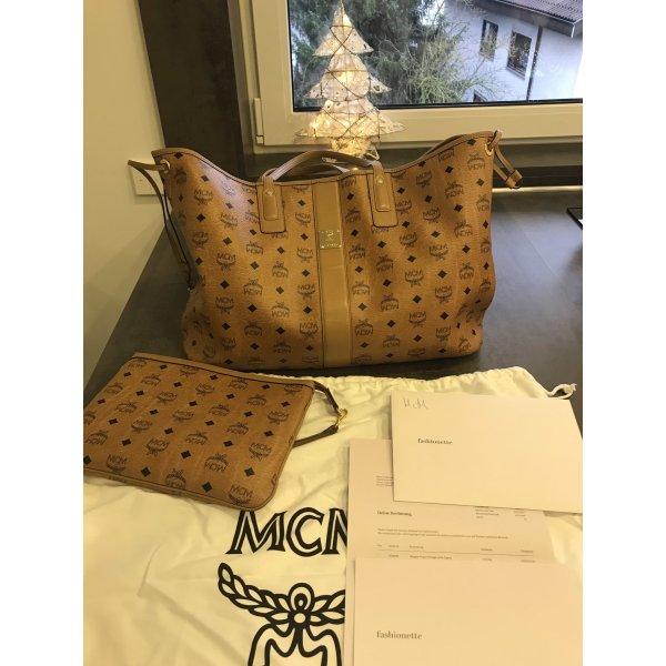 MCM Liz Visetos Shopper Large Cognac