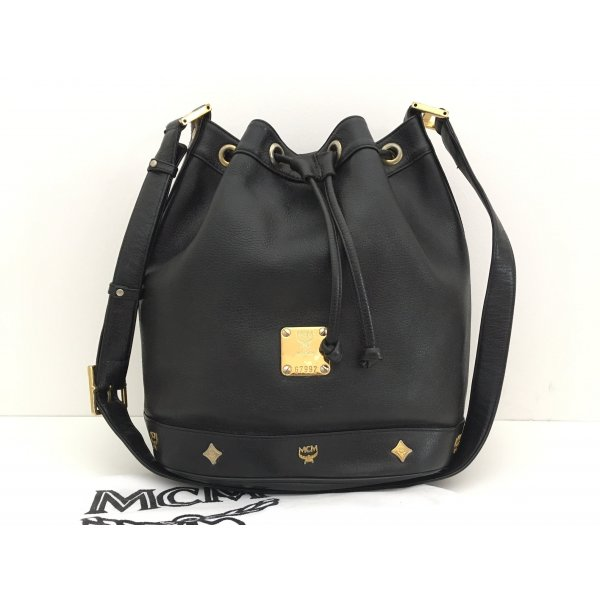 MCM Pouch Bag black-gold-colored leather
