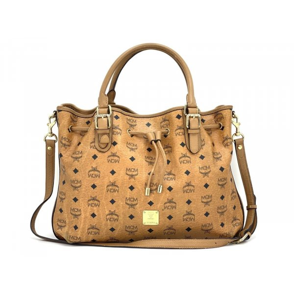 MCM Schultertasche Large Crossbag Tasche Visetos Bag Drawstring cognac Shopper