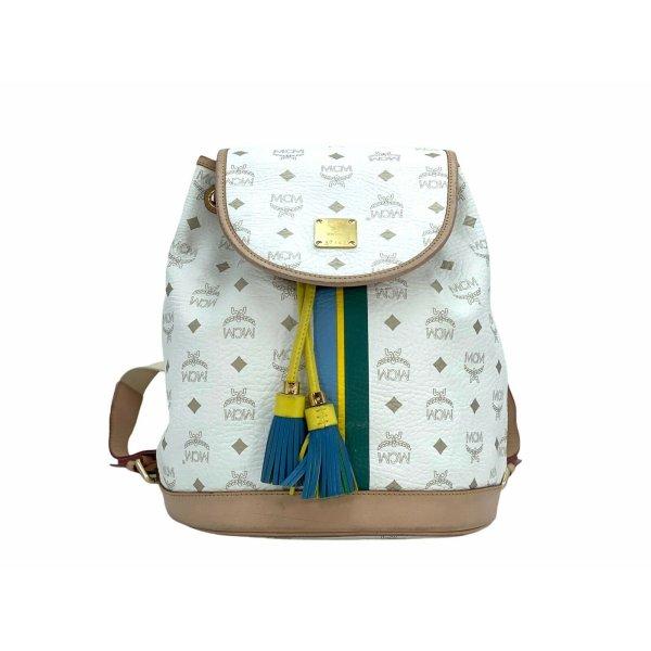 MCM Visetos Kordelzug Rucksack Backpack Weiss Hellbraun Leder Tasche Shopper