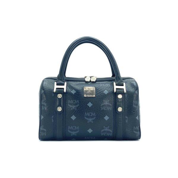 MCM Visetos Mini Handtasche Boston Bag Visetos Black Tasche Henkeltasche Small
