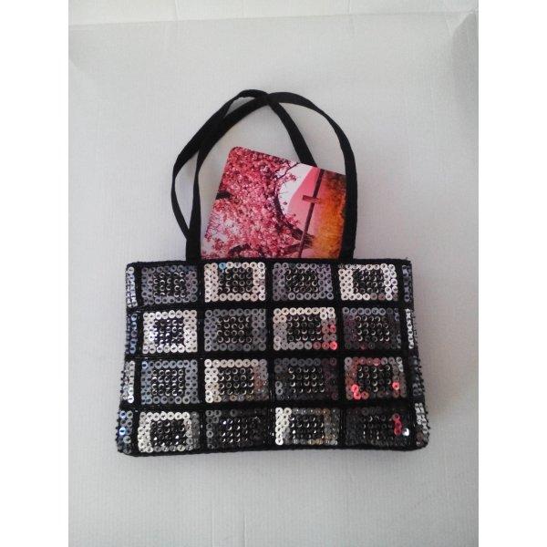Menbur kleine Handtasche in schwarz mit Pailletten, neu