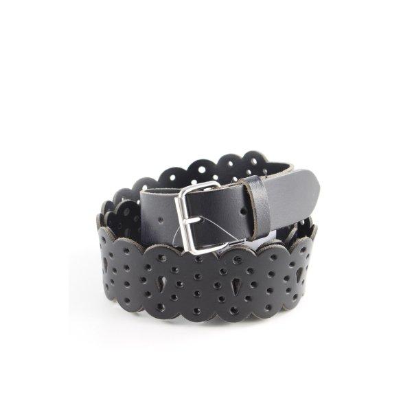 Mexx Ledergürtel schwarz abstrakter Druck klassischer Stil