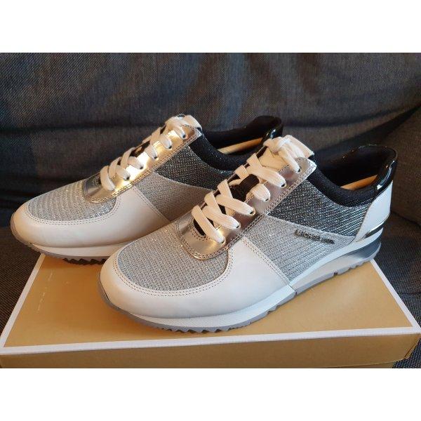 Michael Kors Allie Wrap Trainer Gr. 37 silver silber weiß Sneaker Schuhe Leder