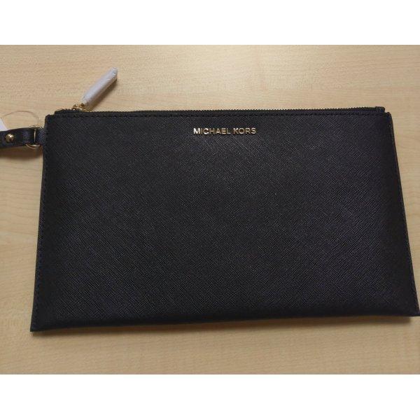 Michael Kors Clutch schwarz Leder neu gold Zip